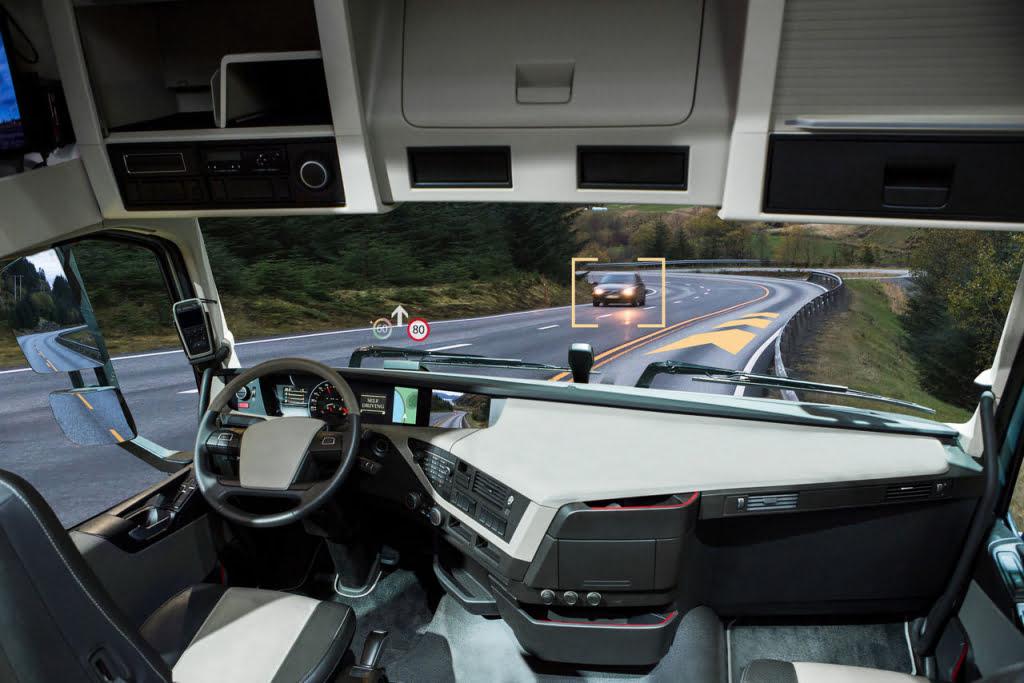widok z autonomicznej ciężarówki